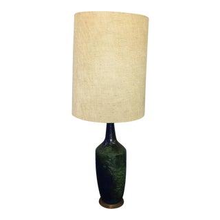 Mid-Century Blue Volcanic Glaze Table Lamp