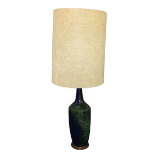Mid-Century Blue Volcanic Glaze Table Lamp