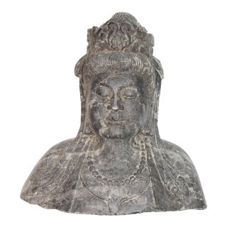 Antique Stone Kwan Yin Goddess Bust