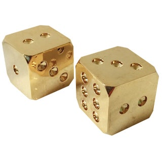 Solid Brass Dice - A Pair