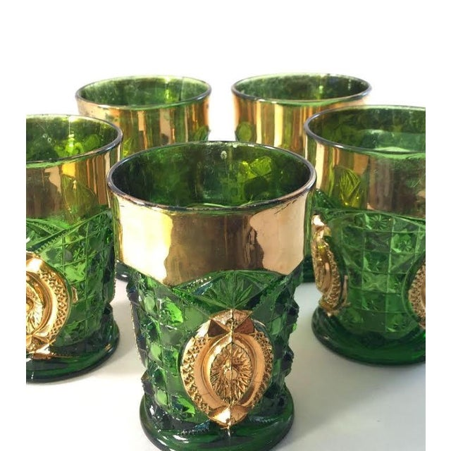 Image of Green And Gold Rimmed Cocktail Glasses - Set of 5