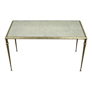 Neoclassical Style Gilt Metal Silver Leaf Mirror Top Coffee Table