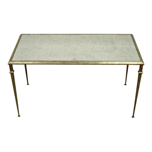 Neoclassical Style Gilt Metal Silver Leaf Mirror Top Coffee Table - Image 1 of 11