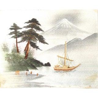 1960s Asian Vintage Silk Art Painting