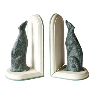 Vintage Greyhound Dog Bookends Metal & Wood Green White Art Deco