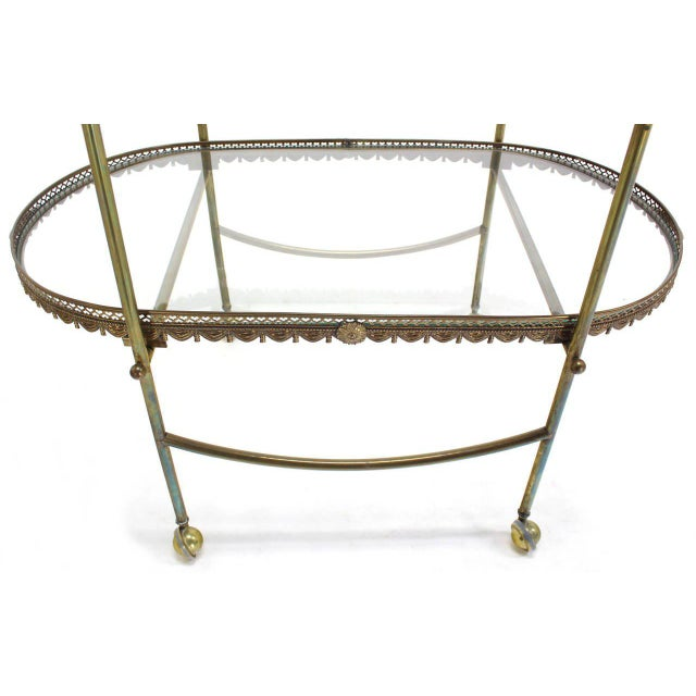 Two-Tier Brass Serving Cart Table with Removable Trays - Image 5 of 10