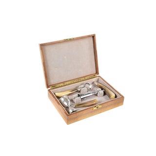 Sterling Silver Vintage Bottle Opener, Corkscrew & Measure Set with Horn Handle Box