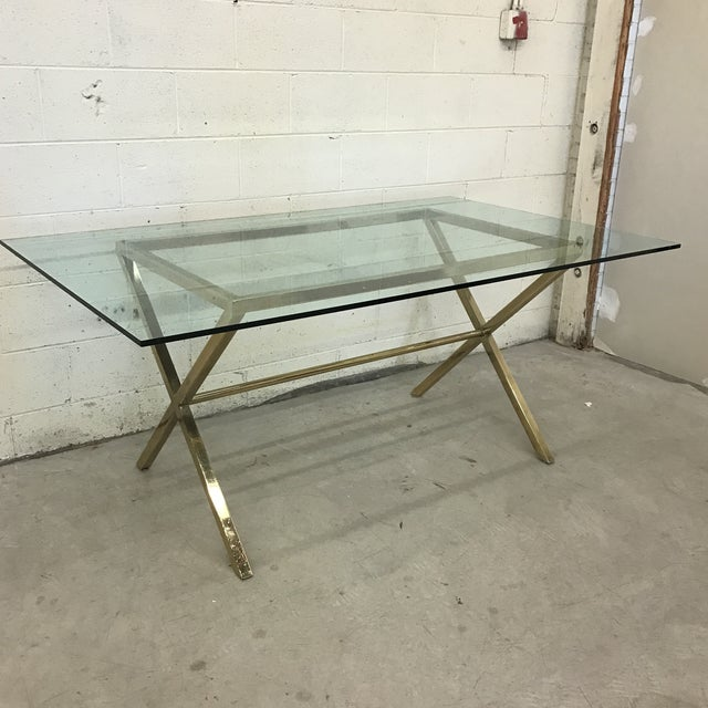 Contemporary Brass & Glass Dining Desk Table - Image 2 of 11