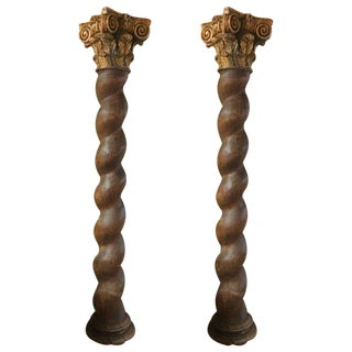 Pair of French Corinthian Oak Carved Columns