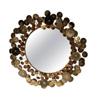 Patinated Copper & Brass Curtis Jere Style Raindrop Mirror