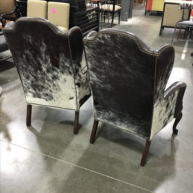 Leather Amp Cowhide Wingback Chairs A Pair Chairish