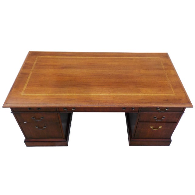 Vintage Wood Executive Traditional Desk by Hiebert - Image 5 of 9