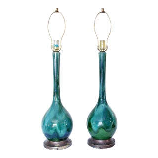 Vintage Blue Green Drip Glaze Table Lamps- A Pair