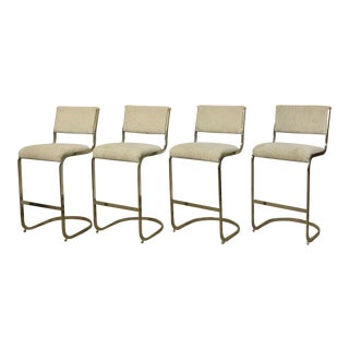 Brass Cantilever Bar Stools - Set of 4