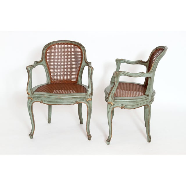 Set of 4 Italian Caned Polychrome Fauteuils - Image 5 of 11