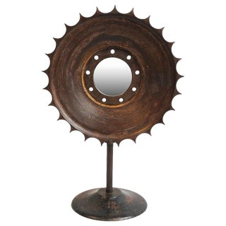 Industrial Iron Sun Gear Mirror