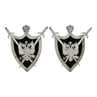Medieval Coat of Arms Wall Art Plaques - A Pair