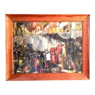 Vintage Mid-Century Abstract Cubist Oil Painting
