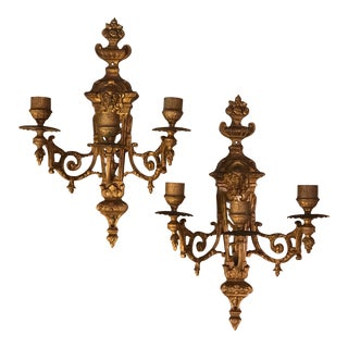 French Empire Brass Wall Sconce Candle Holders - A Pair