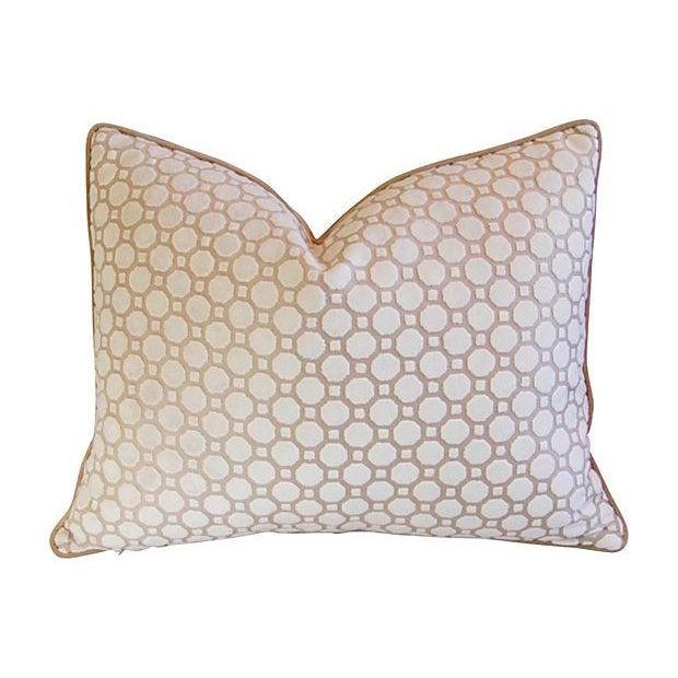 White Velvet Geometric Pillows- A Pair - Image 4 of 7