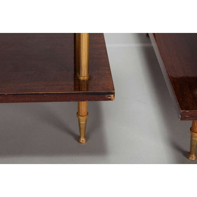Image of Glass & Walnut 3-Tier Side Tables - A Pair