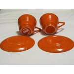 Image of Mid-Century Red Harlequin Cups & Saucers - A Pair