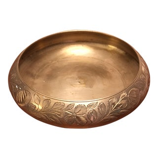 Etched Solid Brass Bowl