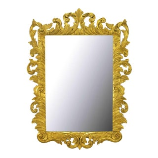 Italian Gilt Plume-Form Hand Carved Mirror