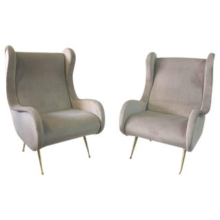 Zanuso Style Pair of Important Italian Winged Armchairs
