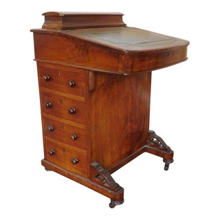 19th Century Antique Victorian Inlaid Walnut Captains Davenport Slant Desk