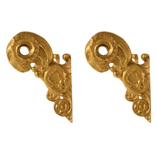 18th Century Original Antique Italian 24k Gilt Pole Brackets - A Pair