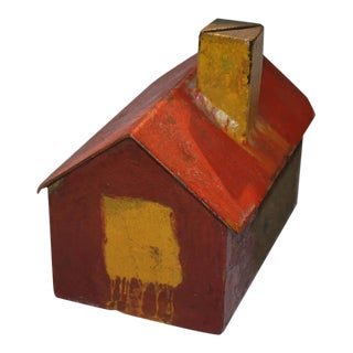 19th Century Handmade Folky and Original Painted House Bank