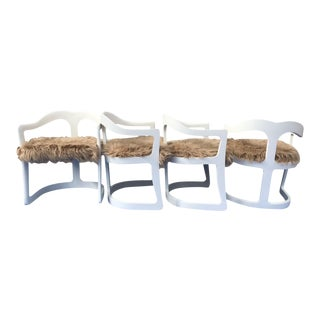 Wood & Faux Mongolian Fur Sculptural Dining Chairs