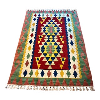 Vintage Turkish Kilim Rug - 3′10″ × 5′10″