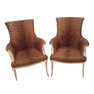 Vintage Leopard Accent Chairs - A Pair
