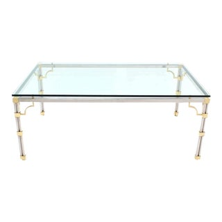 Glass Top Rectangle Chrome Brass Dining Conference Table