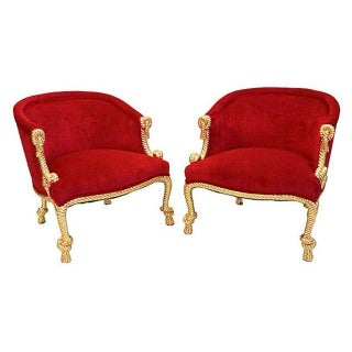 Vintage Gold Rope Carved & Fuchsia Chairs - Pair