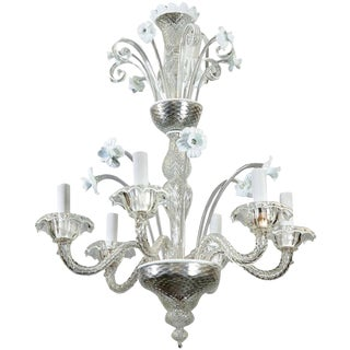 Venetian Six-Light Clear and White Glass Daffodil Chandelier c1930s