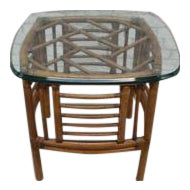 Bamboo Rattan Side Table With Glass Top