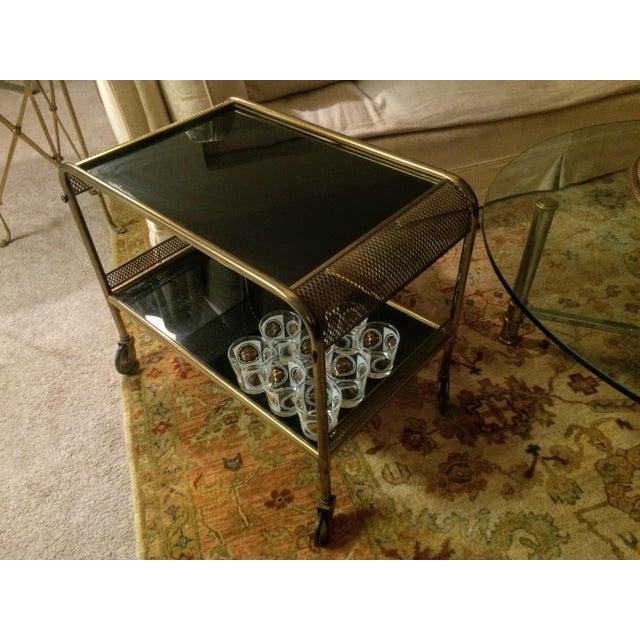 Mid-Century Brass & Black Glass Bar Cart - Image 5 of 11