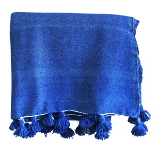 Moroccan Berber Throw Blanket with Pom Poms