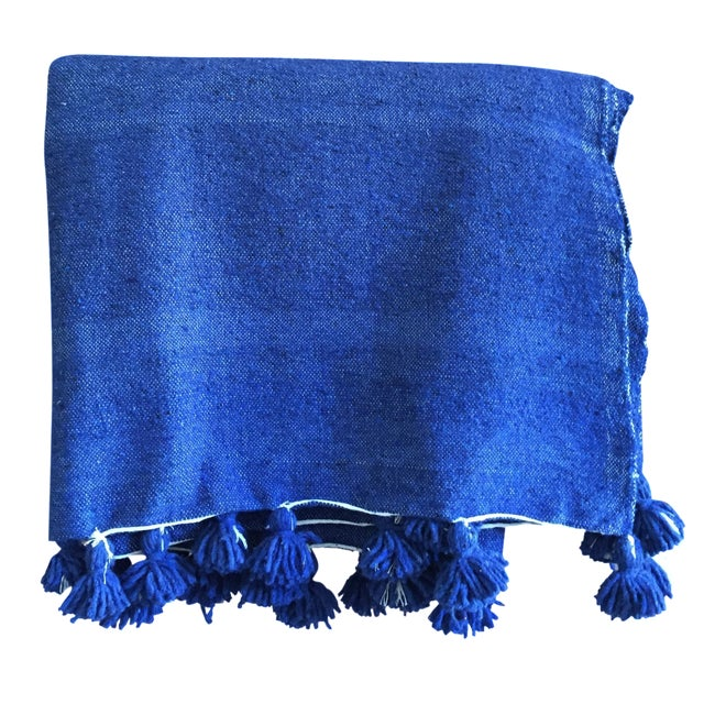 Moroccan Berber Throw Blanket with Pom Poms - Image 1 of 4