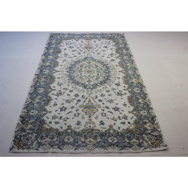 "Blue Cream Turkish Overdyed Rug - 6'1"" X 10' - Image 2 of 9"