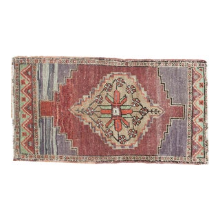 "Traditional Vintage Turkish Oushak Mat - 1'8"" X 2'11"""