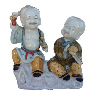 Japanese Satsuma Porcelain Crackle Sculptural Young Bhudda's