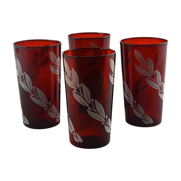 Mid-Century Crimson Tumblers - Set of 4 - Image 1 of 5