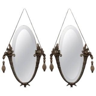 Antique Pair of Art Nouveau Hanging Mirrors