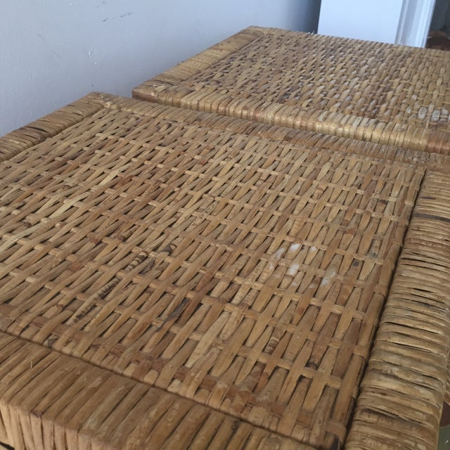 Island Woven Rattan End Tables - A Pair - Image 6 of 6