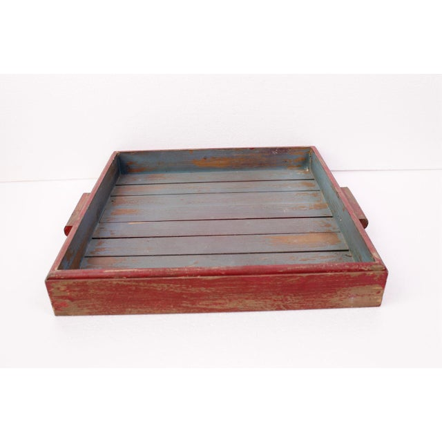 Antique Red & Blue Rustic Wooden Square Tray - Image 3 of 5
