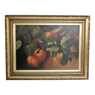 Late 1800's Original Still Life With Fruit Painting